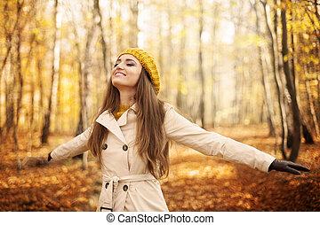 kobieta, młody, jesień, natura, cieszący się