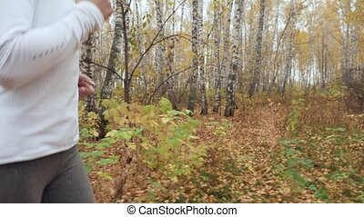 kobieta, młody, jesień, wyścigi, park., blondynka