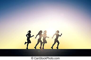 kobieta, młody, lekkoatletyka, wyścigi, outdoors, szczęśliwy