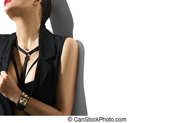 kobieta, młody, odizolowany, czarne tło, portret, sexy, biały, odzież