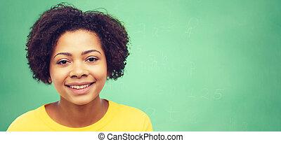 kobieta, młody, twarz, amerykanka, afrykanin, szczęśliwy
