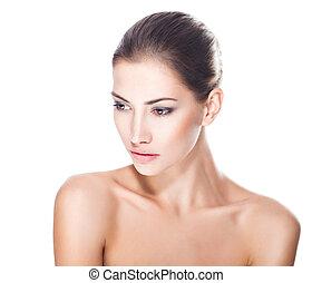 kobieta, młody, twarz, zdrowy, piękny
