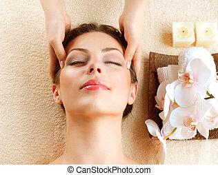 kobieta, młody, twarzowy, dostając masaż, zdrój, massage.