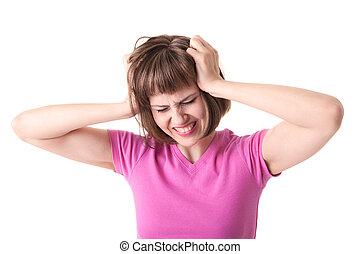 kobieta, ma, ból głowy