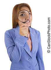 kobieta, magnifier., handlowy