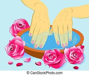 kobieta, manicured, ilustracja, ręka, kwiaty, puchar, s, wektor, siła robocza, care., manicure