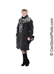 kobieta, marynarka, scarf.isolated, czarnoskóry, white., uśmiechanie się