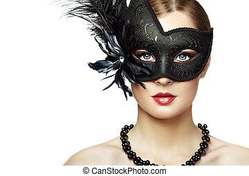 kobieta, maska, czarnoskóry, młody, tajemniczy, piękny, wenecjanin