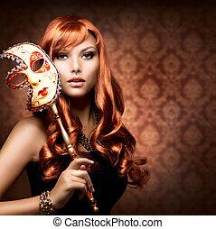 kobieta, maska, karnawał, piękny