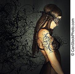 kobieta, maska, kuszący