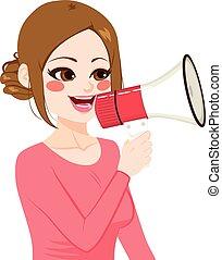 kobieta, megafon, dzierżawa