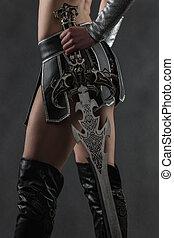 kobieta, miecz
