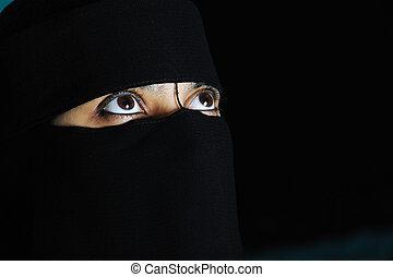 kobieta, misterium, oczy, egzotyczny, orientalny