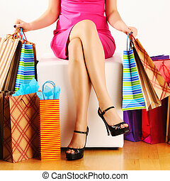 kobieta, mnóstwo, zakupy