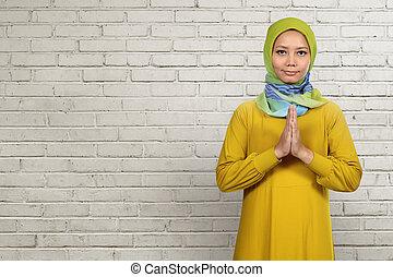 kobieta modląca, asian, muslim