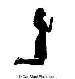 kobieta modląca, klęczący, sylwetka