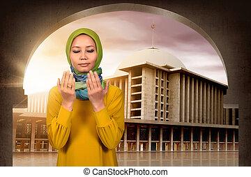 kobieta modląca, młody, muslim, asian