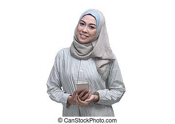 kobieta, muslim, smartphone, asian, dzierżawa, pociągający