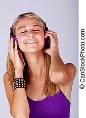 kobieta, muzyka, młody, słuchający