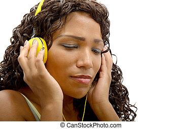 kobieta, muzykować słuchanie, afrykanin