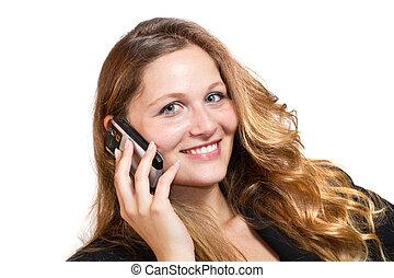 kobieta, na, handlowy, ruchomy, tło, -, odizolowany, telefon, jej, biały