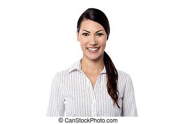 kobieta, na, młody, przedstawianie, biały, przypadkowy
