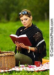 kobieta, na, piknik