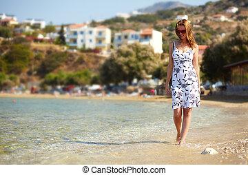 kobieta, na plaży