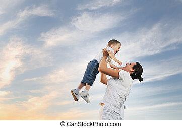 kobieta, na wolnym powietrzu, dziecko
