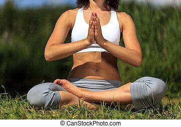 kobieta, na wolnym powietrzu, yoga, młody