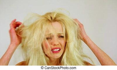 kobieta, niezdrowy, słaby, młody, nieszczęśliwy, włosy, brudny