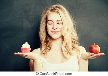 kobieta, niezdrowy, zdrowy, przeważać, jadło., choice., pojęcie, trudny
