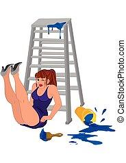 kobieta, nogi do góry, drabina, rysunek, purpurowy strój