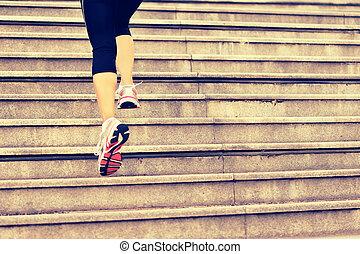 kobieta, nogi, lekkoatletyka, wyścigi, schody