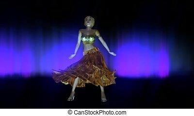 kobieta, ożywienie, taniec