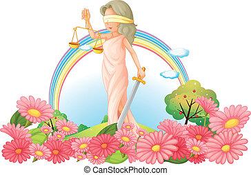 kobieta, obarczanie, ogród, tabela