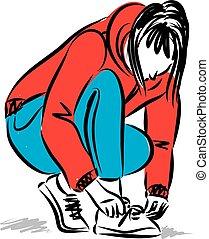 kobieta, obuwie, ilustracja, wektor, przywiązywanie, ...