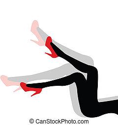 kobieta, obuwie, sexy, cień, nogi, czerwony
