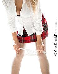 kobieta, od, koszula, wpływy, biały, majtasy, poła, koronka