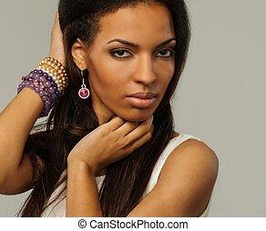 kobieta, odizolowany, tło, afrykańska-amerikanka