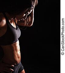 kobieta odprężająca, młody, trening, lekkoatletyka, jej, po