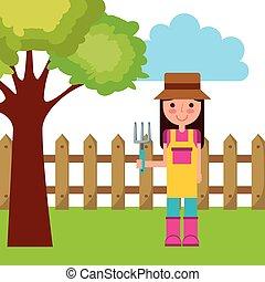 kobieta, ogrodnik, ikona