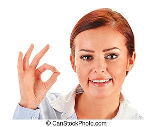 kobieta, ok, pokaz, młody, odizolowany, biały, gest