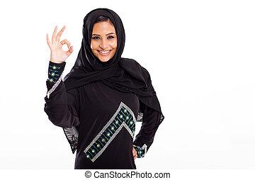 kobieta, ok, udzielanie, nowoczesny, znak, arabski