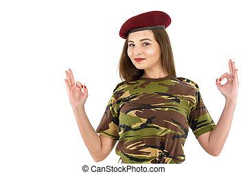 kobieta, ok znaczą, pokaz, pokój, młody, kamuflaż, sprzęt, żołnierz, wojskowy