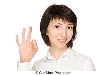 kobieta, okay, gesturing