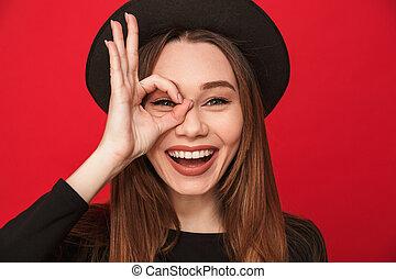 kobieta, okay, pokaz, młody, gesture., uśmiechanie się