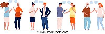 kobieta, osoby, mówiąc, człowiek, ludzie, wektor, rozmowa, bańki, gaworząc, różny, characters., pojęcie, dialog, mowa