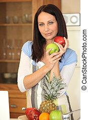 kobieta, owoc, kuchnia