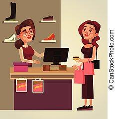 kobieta, płacić, litera, ilustracja, wektor, uśmiechanie się, purchase., rysunek, szczęśliwy